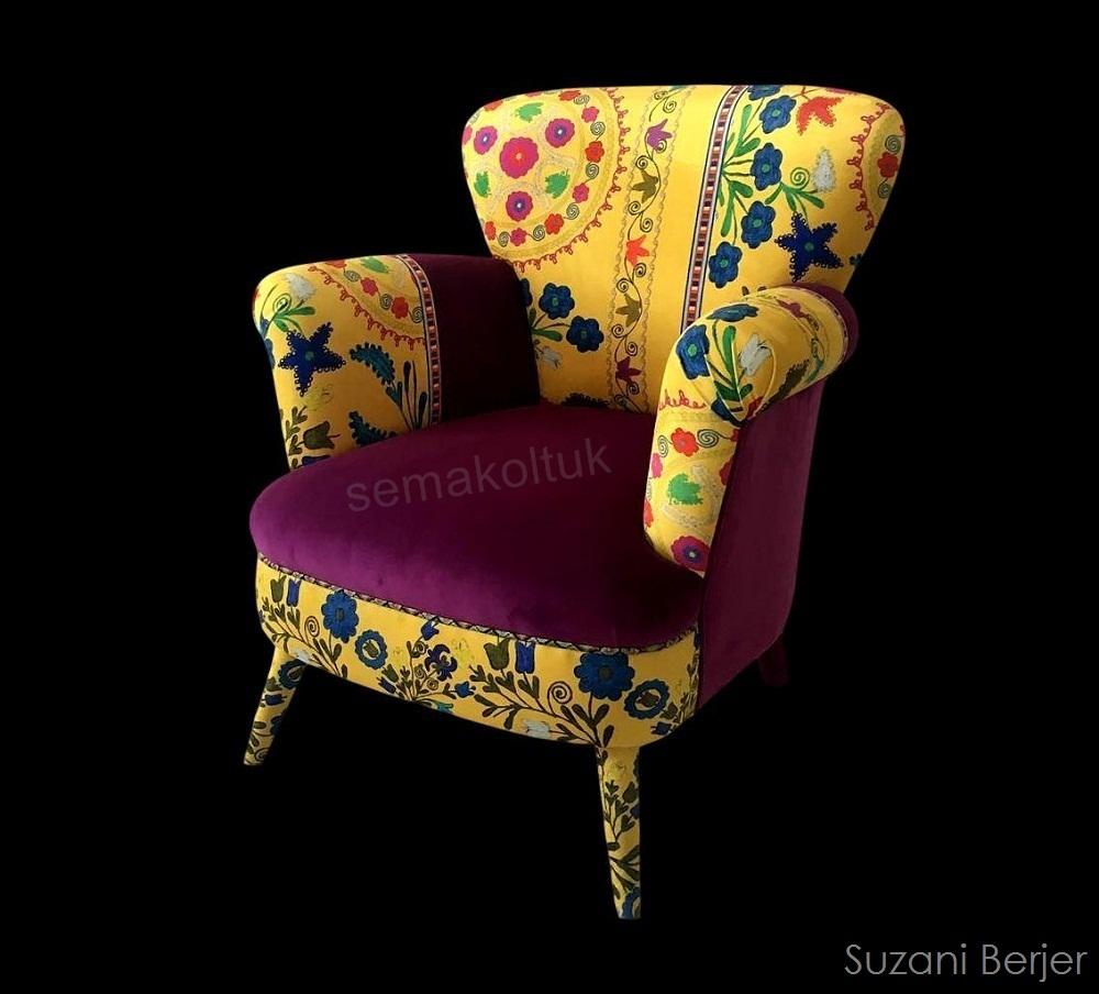 suzanı özbek desenli berjer koltuk iamalatı modoko