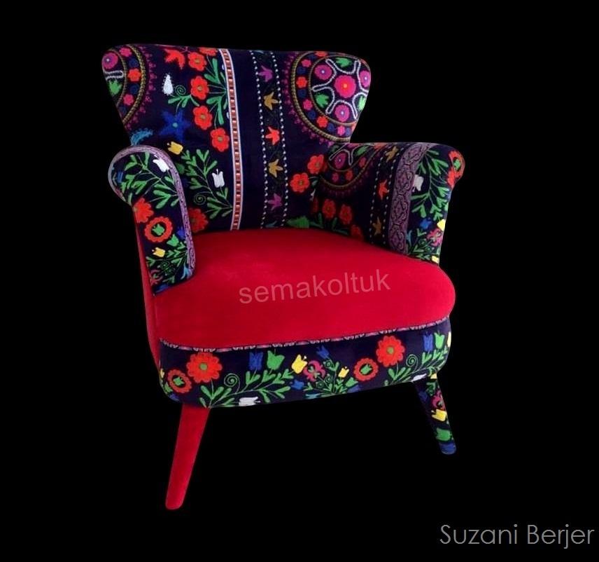 modoko suzanı özbek desenli berjer koltuk siparişi