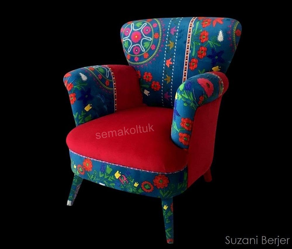 suazanı ozbek desenli berjer koltuk imalatı modoko