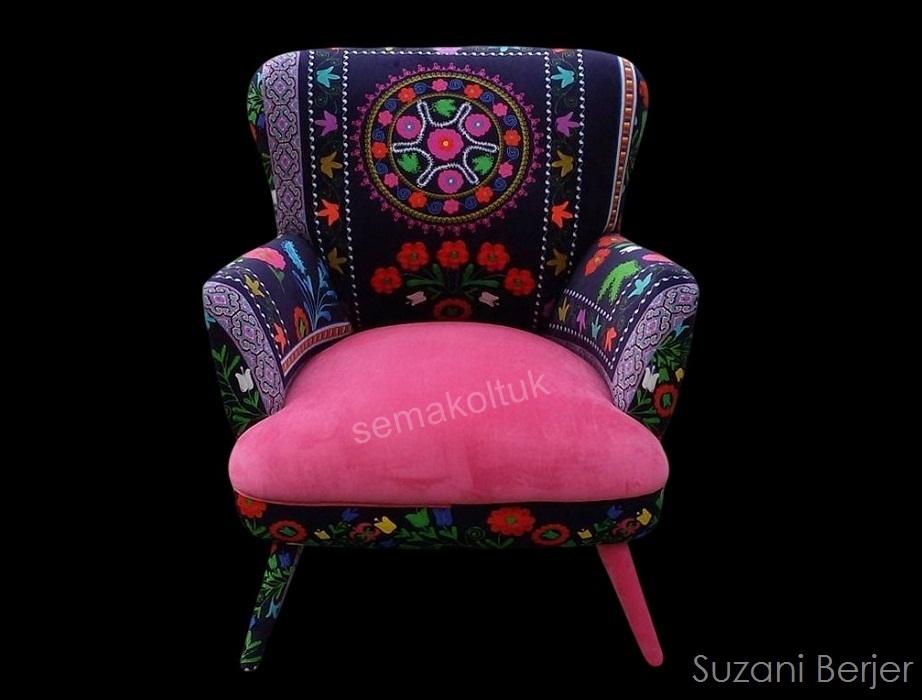 modoko suzanı özbek desenli  berjer koltuk modelleri